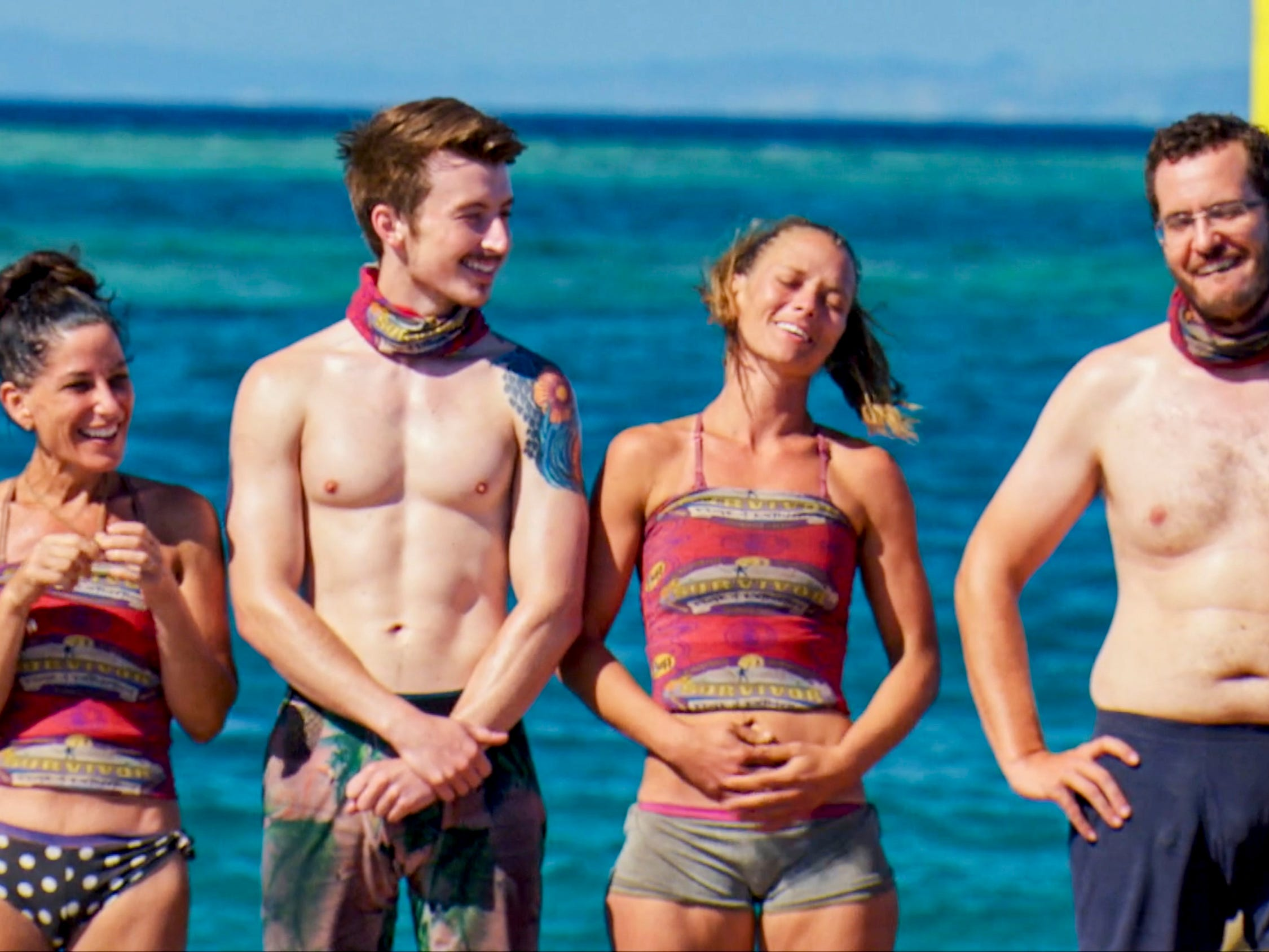 "From left are  Julie Rosenberg, Gavin Whitson, Aurora McCreary and Rick Devens on ""Survivor: Edge of Extinction."""