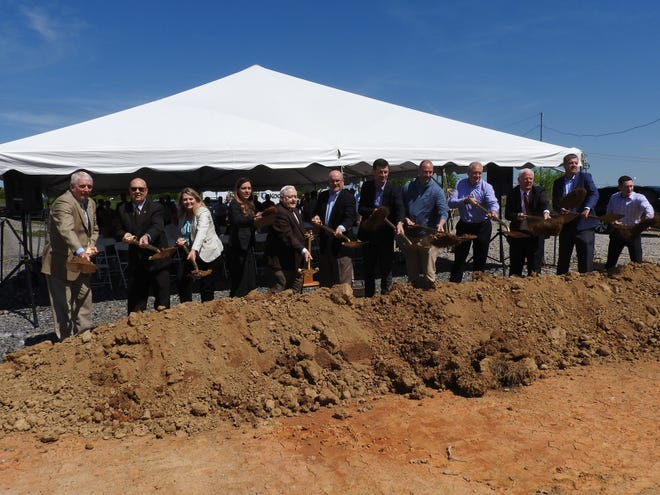 State and local Morristown officials join McNeilus Steel representatives for a factory groundbreaking ceremony Tuesday, April 23, 2019, at the East Tennessee Progress Center industrial park.