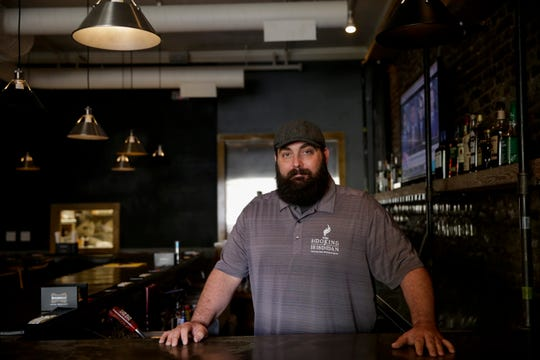 """Robert Turner, owner of the newly opened Smoking Irishman, talks about the Irish pub's smoked meats and upstairs """"old school speakeasy vibe,"""" Monday, April 22, 2019, in Lafayette."""