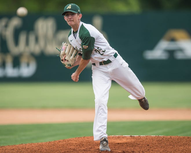 Acadiana High's Seth Trahan pitches against Alexandria Senior High Trojans in the first round of the LHSAA Class 5A playoffs last week. Trahan and a pair of double plays had kept the Live Oak Eagles at bay Saturday to advance to the third round.