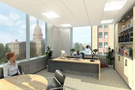 A rendering of a revamped interior office at the Farnum Building, which was recently bought by Boji Group.