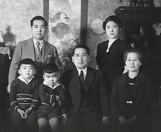 Sam Mihara and his family (pictured) were held captive as Japanese-American prisoners during World War II, spending three years in a 20-foot-by-20-foot room.
