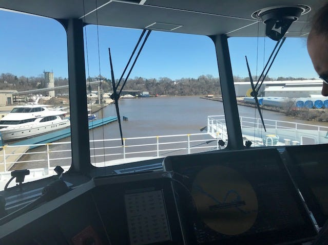 View from the captain's cabint aboard Lake Express