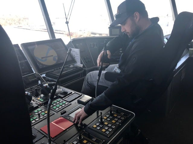 Captain during drill aboard Lake Express