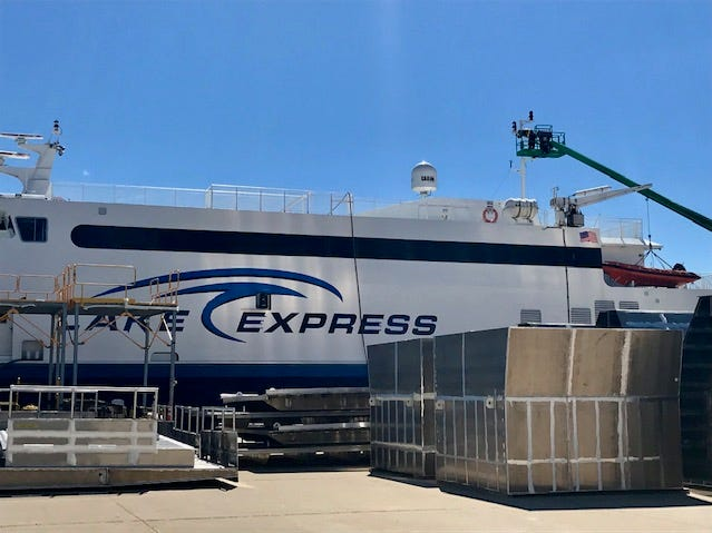 The Lake Express car ferry is docked near Burger Boat Company for repairs.