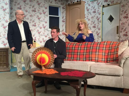 """Carl Hunnell,, Matthew Crum and Haley Bedocs, from left, rehearse for """"Making God Laugh."""""""