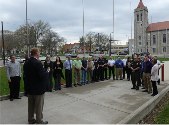 Joe Trolian, executive director of the Richland County Mental Health and Recovery Services, honored first responders Tuesday outside the Richland County Courthouse.