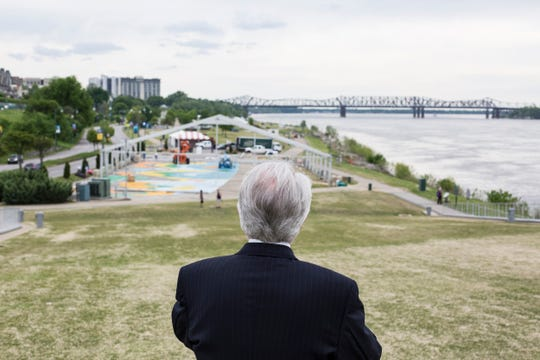Lyman Aldrich stands on Beale Street Landing while work starts to transform Tom Lee Park for the Memphis in May International Festival, April 23, 2019. Aldrich was the president of the first Memphis in May festival in 1977.