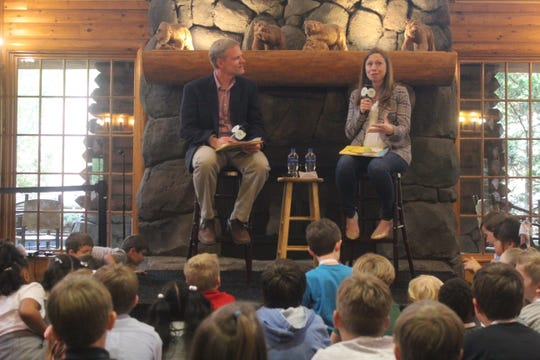 "Chelsea Clinton discusses her latest book ""Don't Let Them Disappear"" to a crowd of children and parents on Tuesday, April 23, 2019, at the Memphis Zoo."
