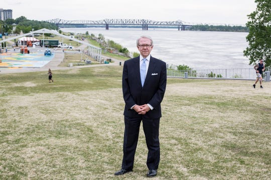 Lyman Aldrich stands on Beale Street Landing while work starts to transform Tom Lee Park for the Memphis in May International Festival on April 23, 2019. Aldrich was the president of the first Memphis in May festival in 1977.