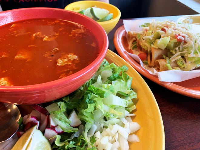Pazole, left, and chicken flautas from Molcajetes, Golden Gate.