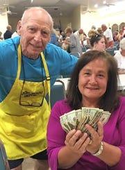 JCMI big winner Maria Day with Bingo committee member Bernie Seidman.