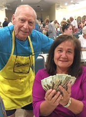 JCMI big winner Maria Day with Bingo committee member Bernie Seidman.