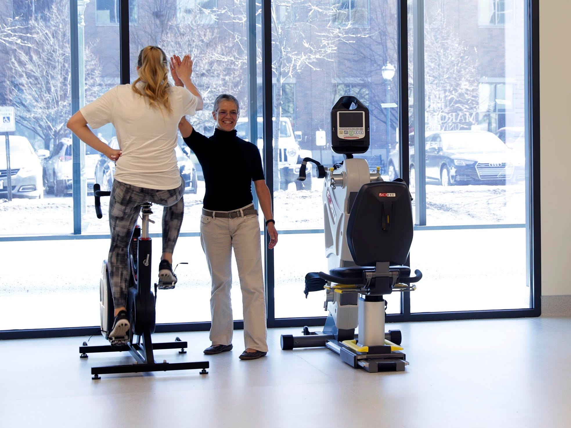 A research lab with two partitions will help researchers develop new fitness technologies and advance the use of fitness data analytics as a tool for improved performance.