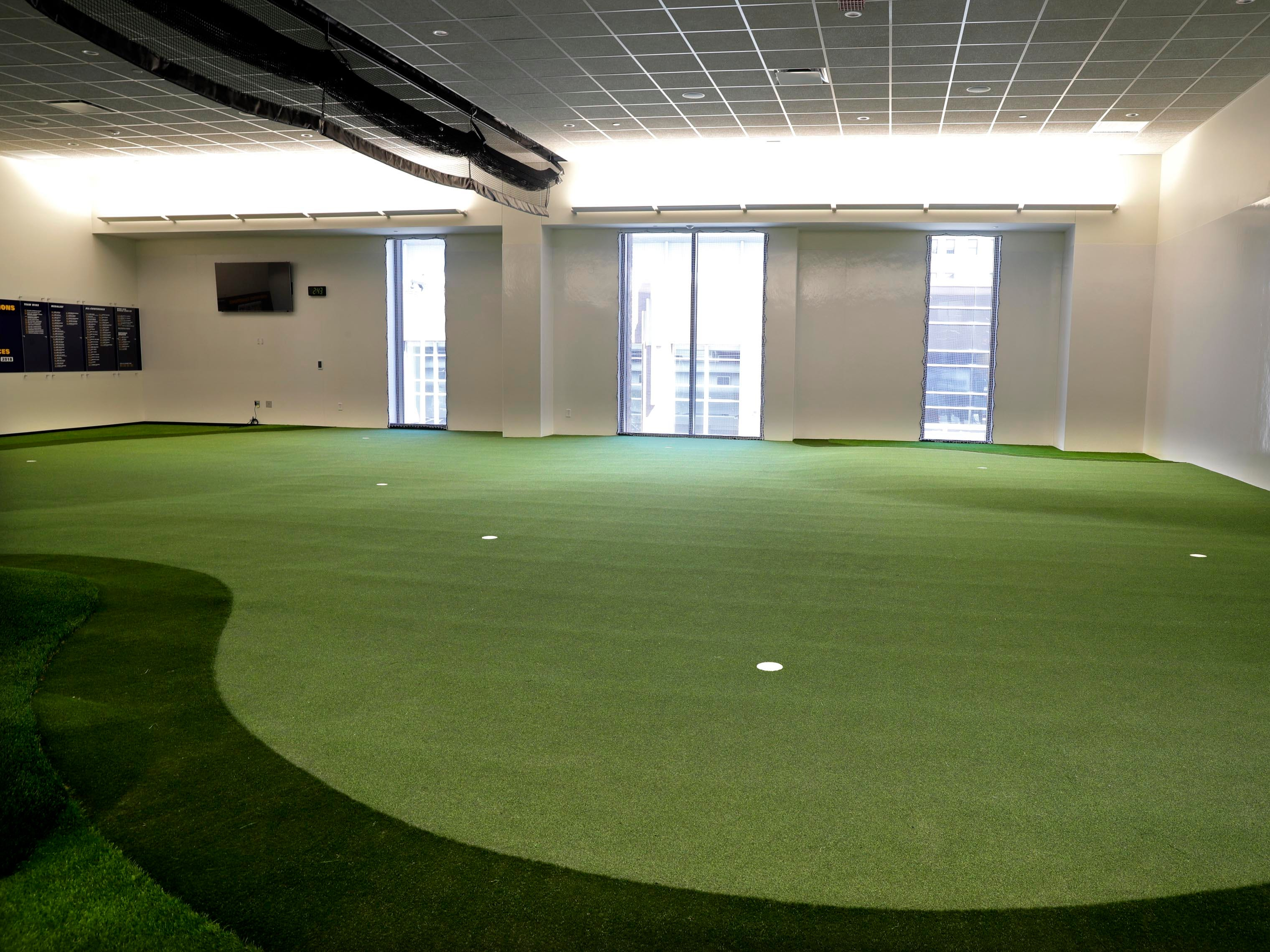 The Athletic and Human Performance Research Center has a year-round putting green and swing analysis equipment to the golf team improve throughout the year.