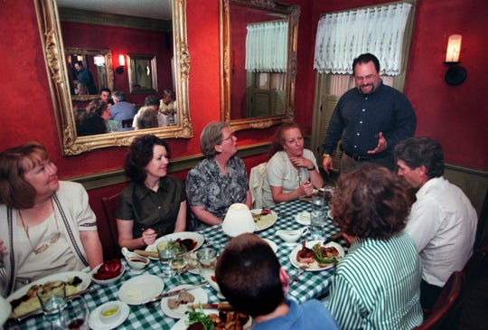Joe Bartolotta (standing at right) greets customers at Mr. B's in Brookfield.