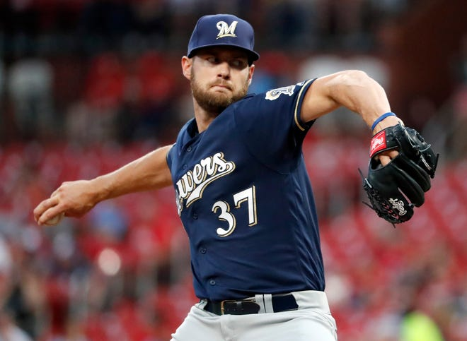 Adrian Houser of the Brewers got touched by the Cardinals for five runs on nine hits with one walk and three strikeouts in four-plus innings in his first major-league start Monday night.