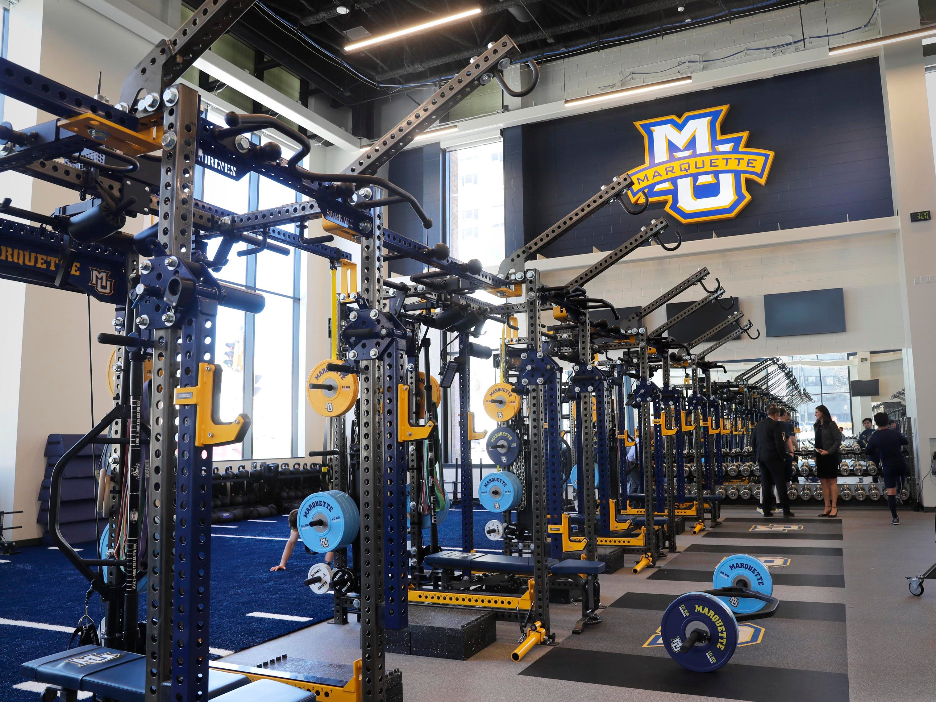 Located across from the Al McGuire Center, the new Athletic and Human Performance Research Center features a large space for strength and conditioning for the athletic department.