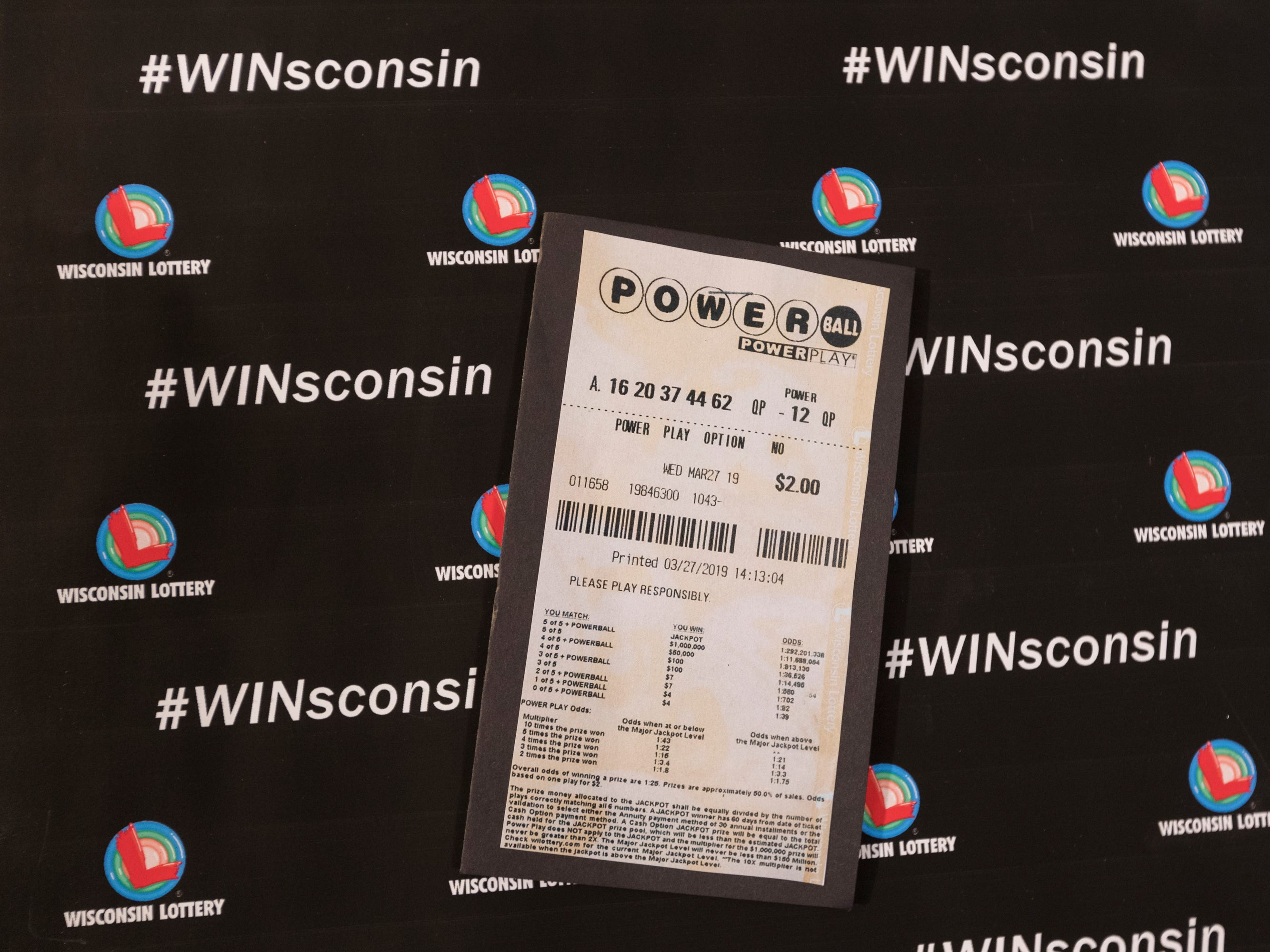 A copy of the winning Powerball ticket redeemed by Manuel Franco.