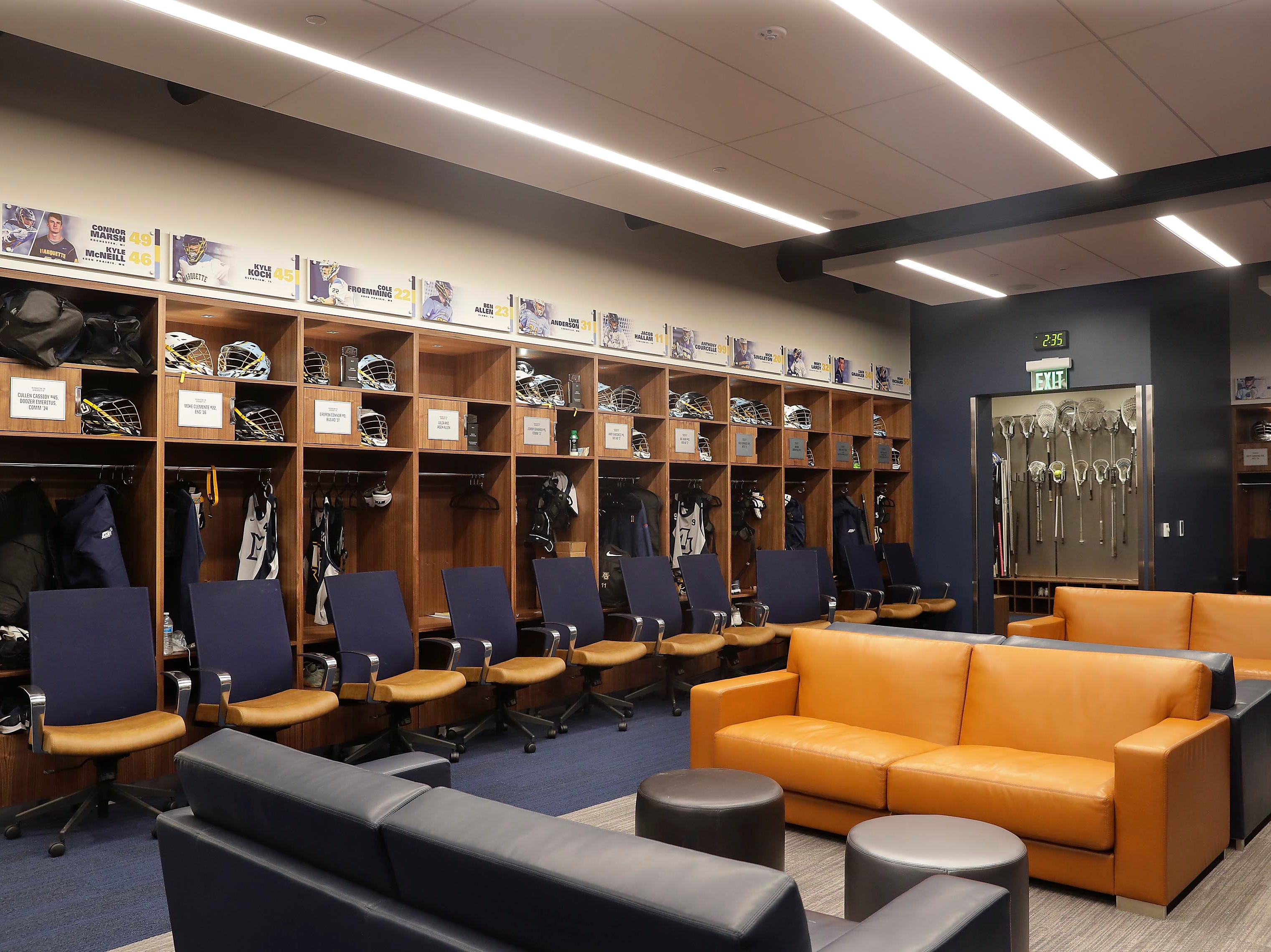 There are 103 lockers and support space for the lacrosse and golf programs.  Since their inception as NCAA programs six years ago, the men's and women's lacrosse teams and their 90-plus athletes have not had a locker rooms.