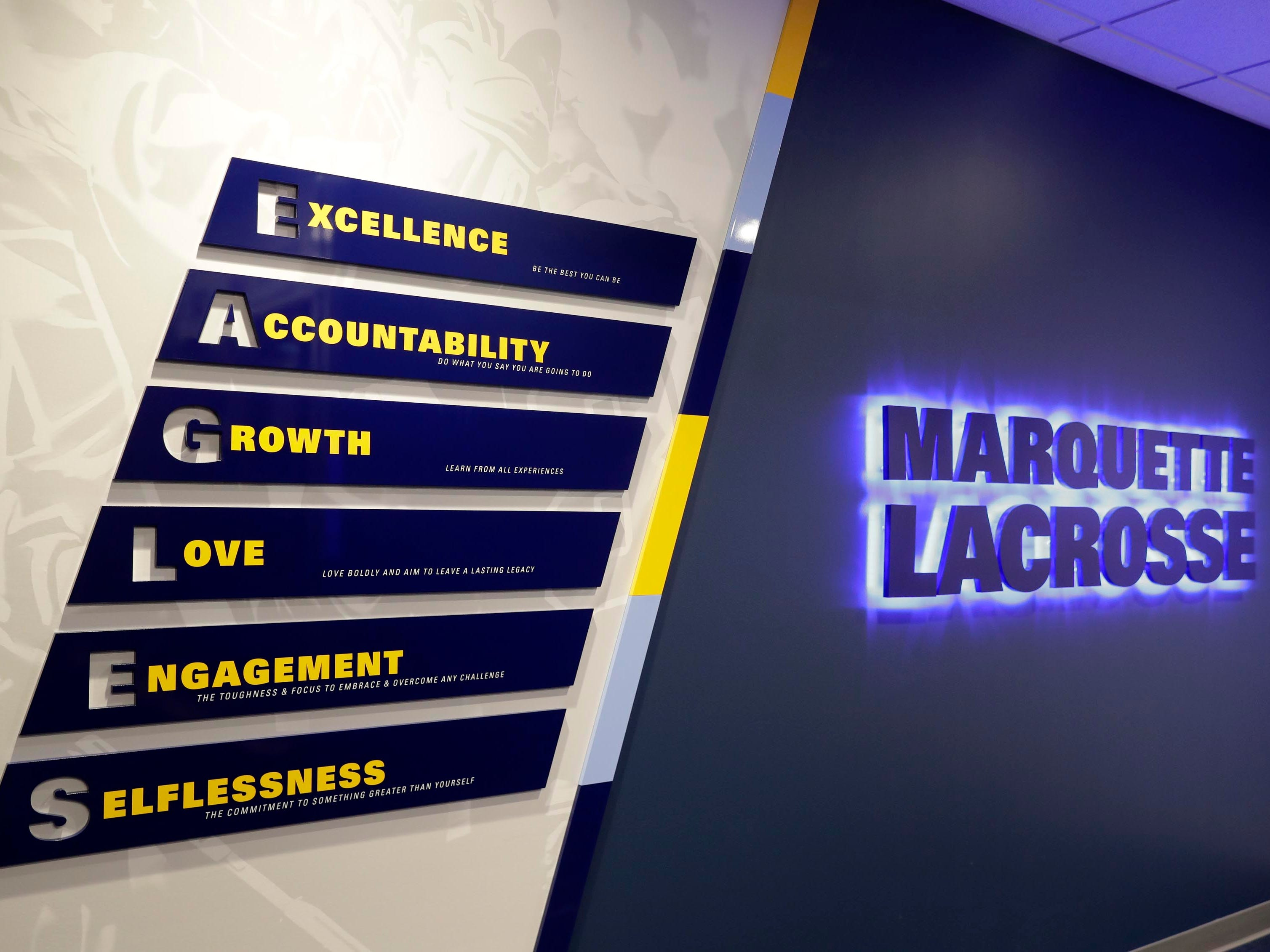 Bright, inspiring signage and messaging is spread throughout the Athletic and Human Performance Research Center at Marquette University.
