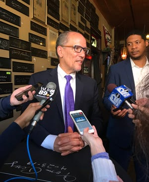 Democratic National Committee Chairman Tom Perez speaks at the Milwaukee Press Club's Newsroom Pub Tuesday. Perez signed a plaque and took questions in between two days of meetings planning the Democratic National Convention which will be held in Milwaukee in July 2020.