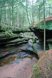 Echo Dells is a beautiful sandstone gorge in Houghton Falls Nature Preserve north of Washburn.