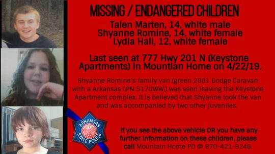Three children reported missing from Mountain Home traveled approximately 275 miles before a van they took broke down in Kansas City, Mo. The children are in custody there and arrangements are being made to return them to the state.