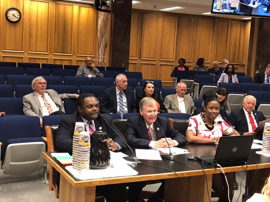 Mayor Jamie Mayo, Sen. Francis Thompson and Rep. Katrina Jackson speak to the Senate Committee on Revenue and Fiscal Affairs on Monday, April 15.