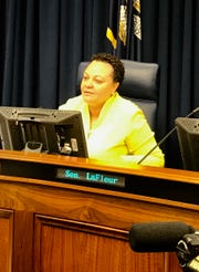 Sen. Karen Carter Peterson, D-New Orleans, listens to testimony during a Senate Judiciary B Committee Tuesday, April 23.