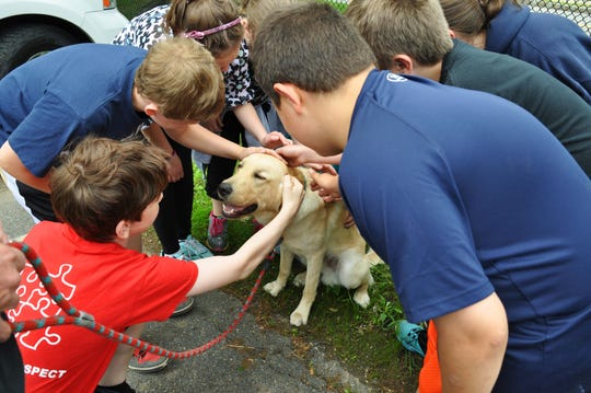 Photo courtesy of Montville Township Public Schools Before he returned to Morristown for placement, Cedar Hill Elementary School students said goodbye to Milo, The Seeing Eye dog.