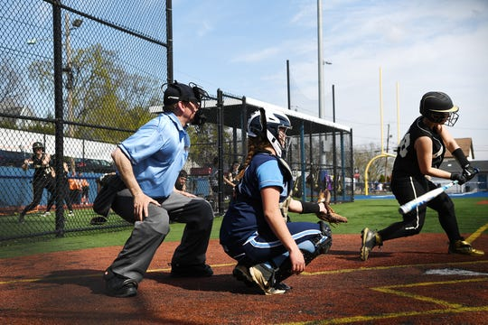 Bergen Tech softball vs. Waldwick in the Donna Ricker Tournament at Wood-Ridge High School on Saturday, April 13, 2019. (left) Umpire Jon Breuer.