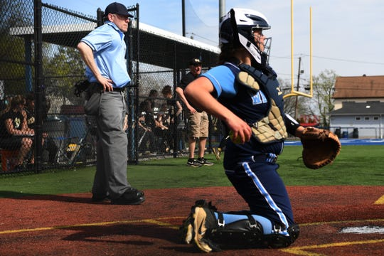 Bergen Tech softball vs. Waldwick in the Donna Ricker Tournament at Wood-Ridge High School on Saturday, April 13, 2019. (left) Umpire Jon Breuer.