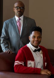 Lee High School senior Asiah Thompson, winner of the dramatic interpretation speech and debate state championship, is shown with his coach Delano Muhammad in Montgomery, Ala., on Tuesday April 23, 2019. Muhammad won coach of the year.