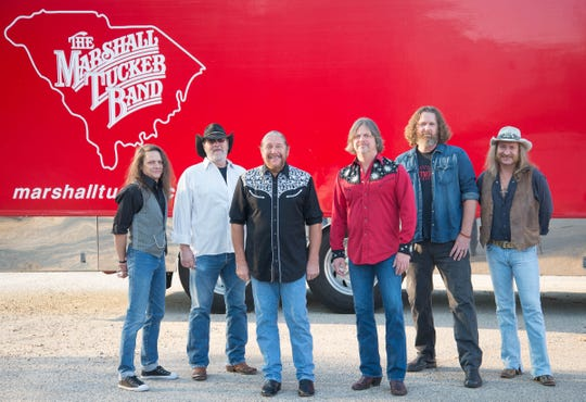Members of the Marshall Tucker Band, from left, B.B. Borden, Rick Willis, Doug Gray, Marcus Henderson, Tony Black and Chris Hicks.
