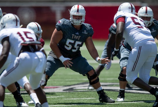 Troy offensive lineman Jake Andrews (55) during the Troy University T-Day spring scrimmage game in Troy, Ala., on Saturday April 20, 2019.
