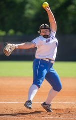 Macon East's Caroline Capps (15) pitches against Edgewood on the Huntingdon College campus in Montgomery, Ala., on Monday April 22, 2019.