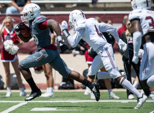 Troy running back Charles Strong (28) during the Troy University T-Day spring scrimmage game in Troy, Ala., on Saturday April 20, 2019.