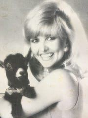 A 1990 Channel 4 promo picture of then weekend weathercaster Karlen Evins and Bingo the Weather Goat