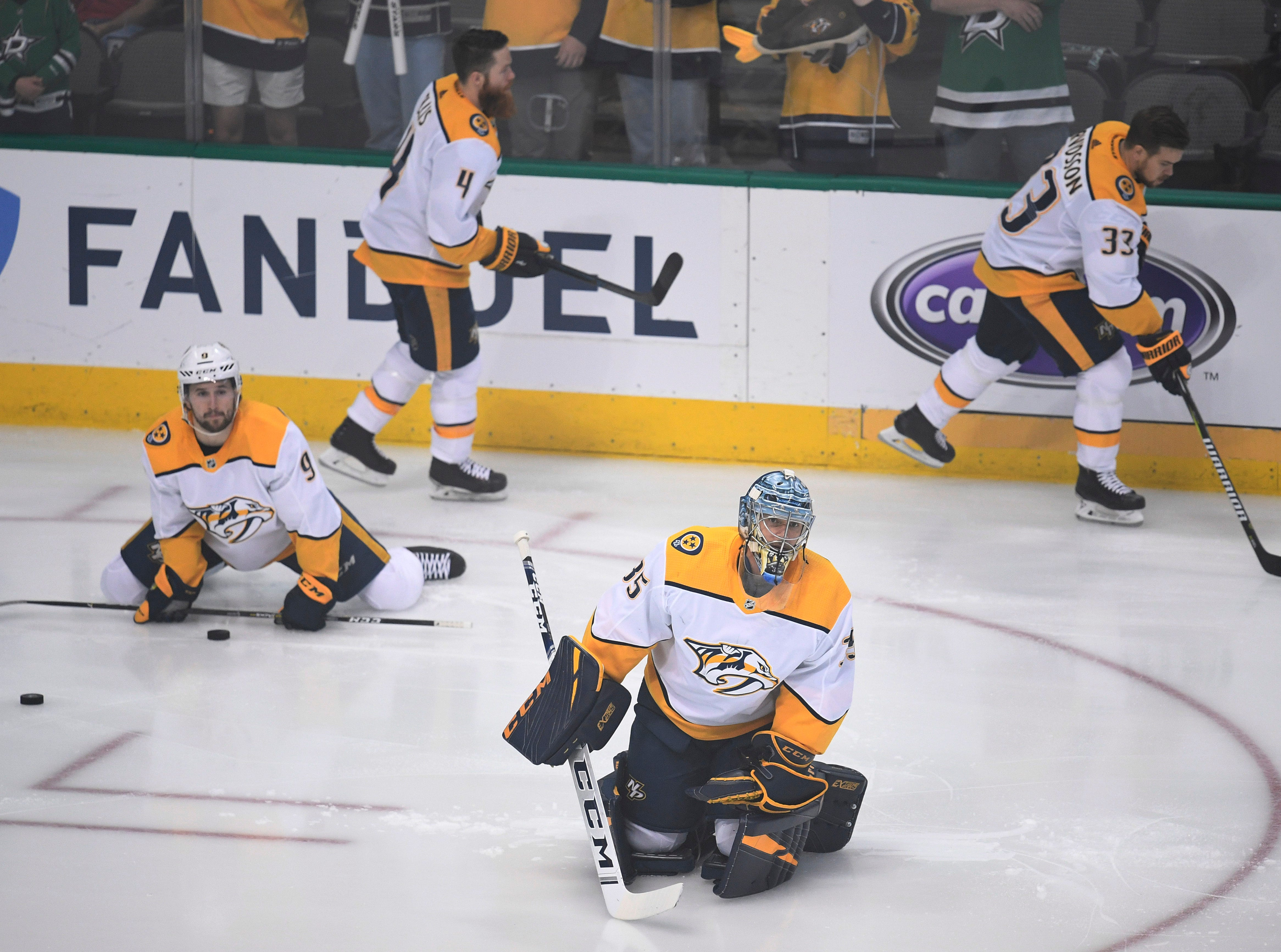 The Predators warm up before the divisional semifinal game against the Stars at the American Airlines Center in Dallas, Texas, Monday, April 22, 2019.