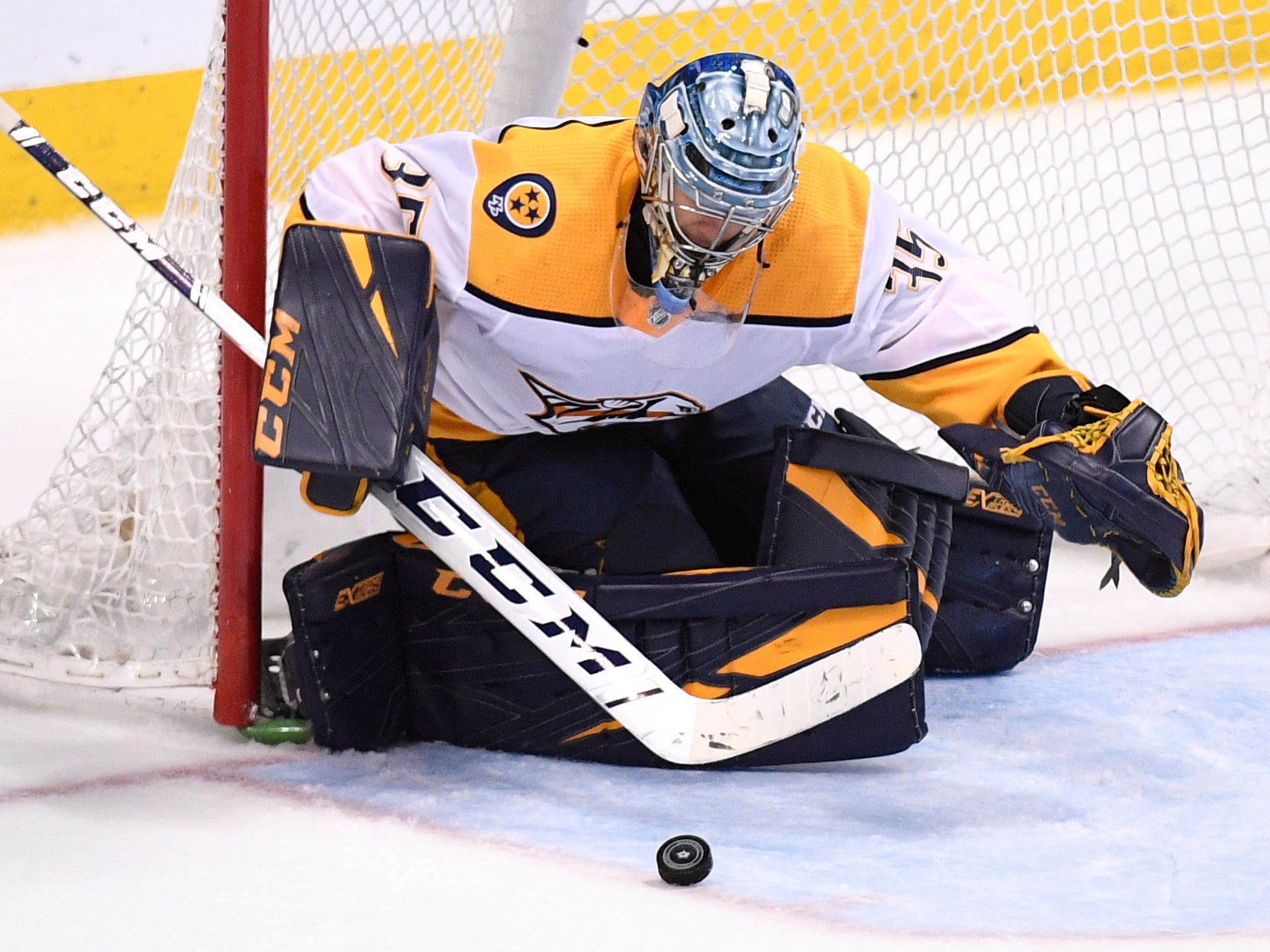 Nashville Predators goaltender Pekka Rinne (35) defends the net during the third period of the divisional semifinal game at the American Airlines Center in Dallas, Texas, Monday, April 22, 2019.