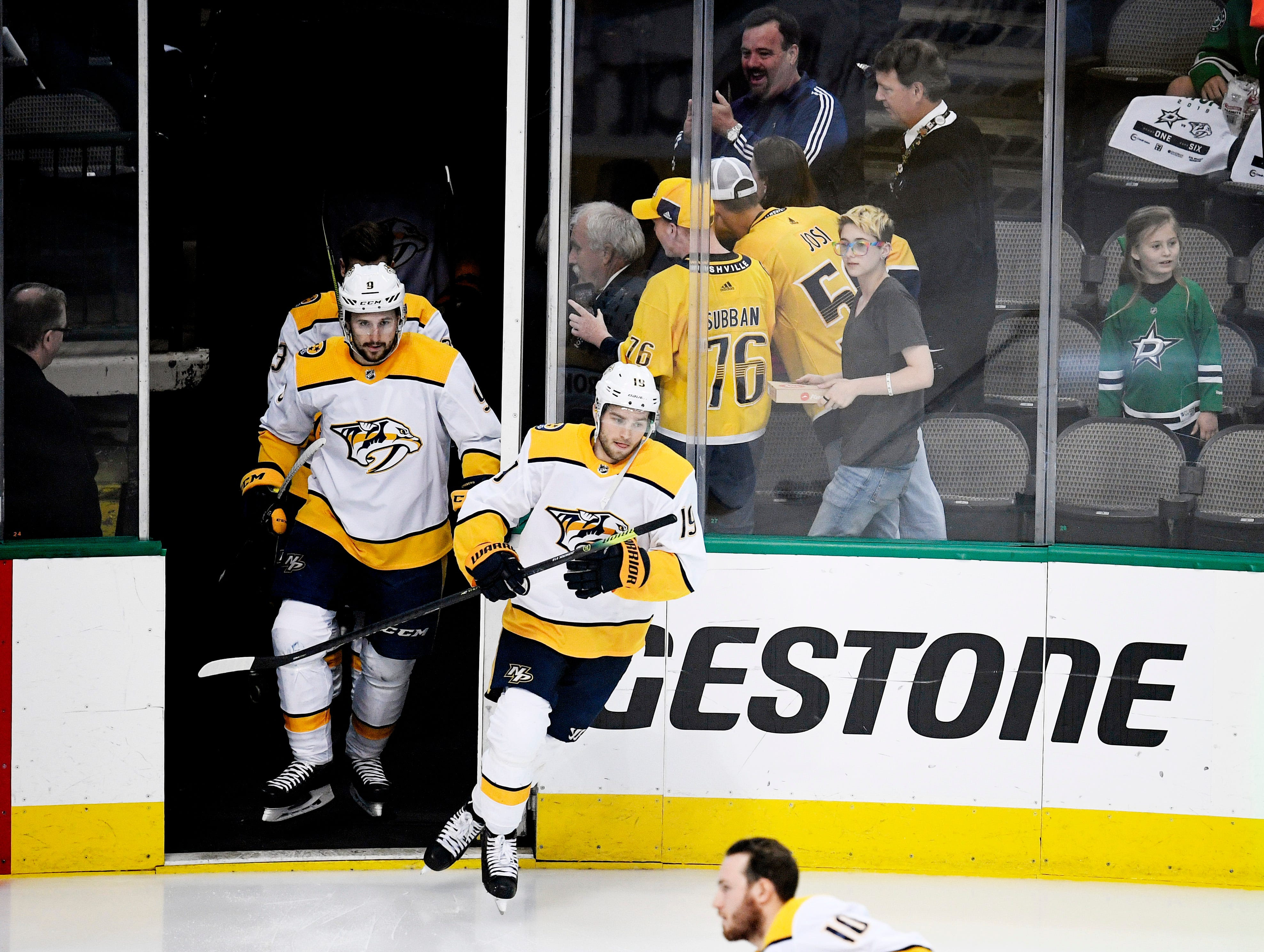 The Predators take the ice for warmups before the divisional semifinal game against the Stars at the American Airlines Center in Dallas, Texas, Monday, April 22, 2019.