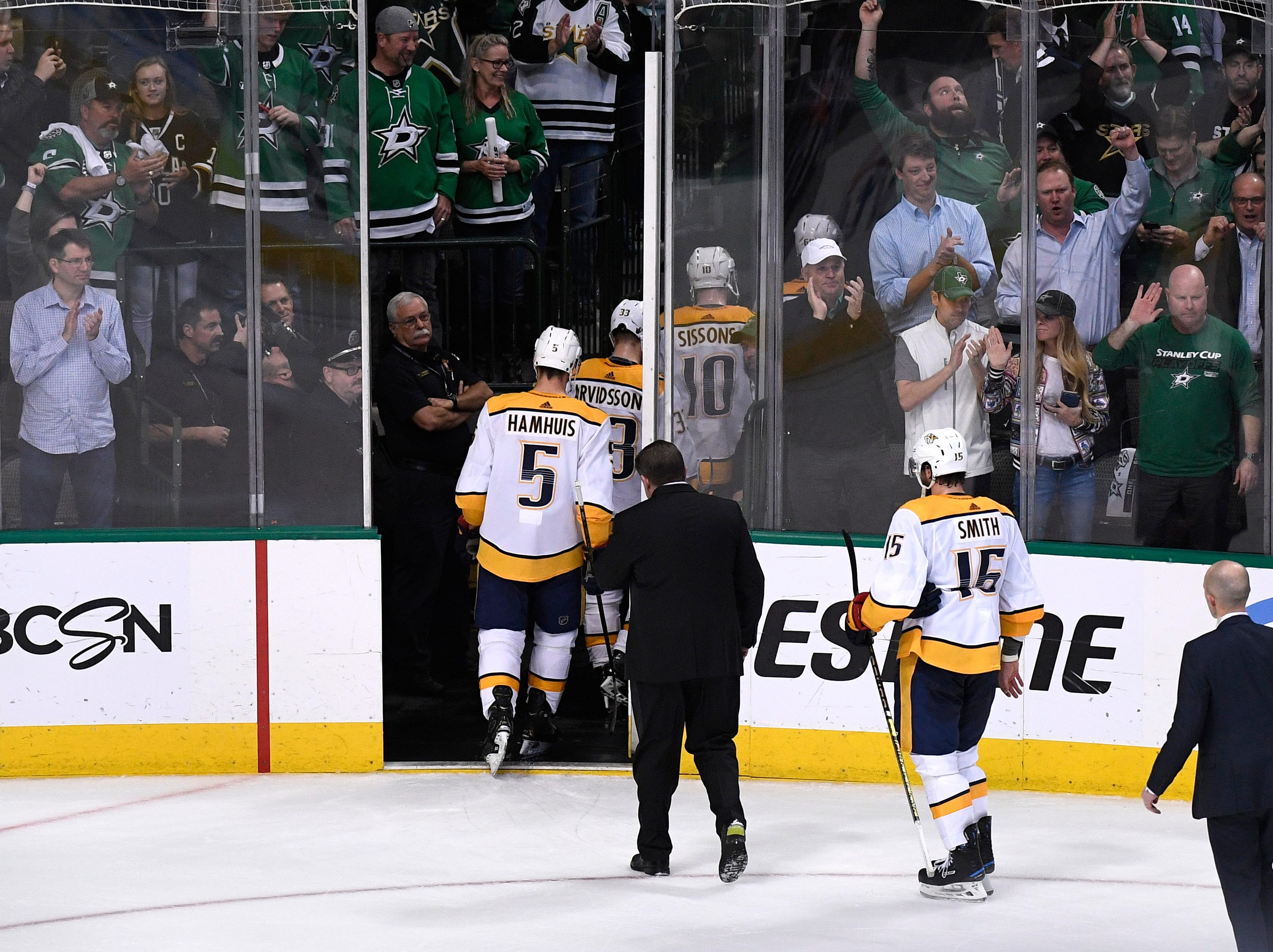 The Predators leave the ice after their overtime loss to the Stars, losing the divisional semifinal series, 4-2, at the American Airlines Center in Dallas, Texas, Monday, April 22, 2019.