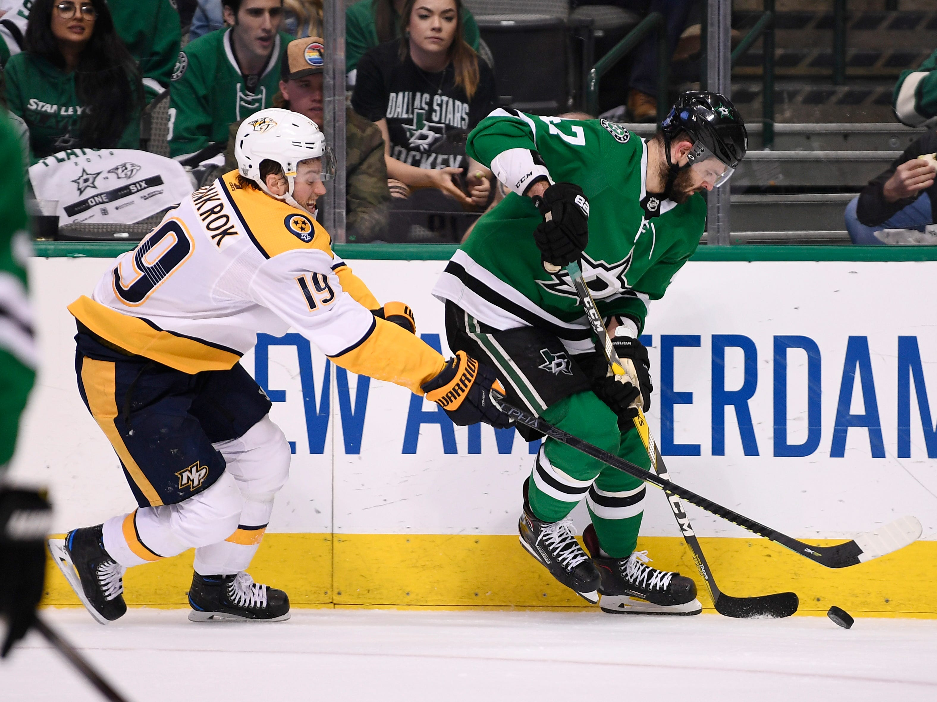 Dallas Stars right wing Alexander Radulov (47) moves the puck defended by Nashville Predators center Calle Jarnkrok (19) during the first period of the divisional semifinal game at the American Airlines Center in Dallas, Texas, Monday, April 22, 2019.