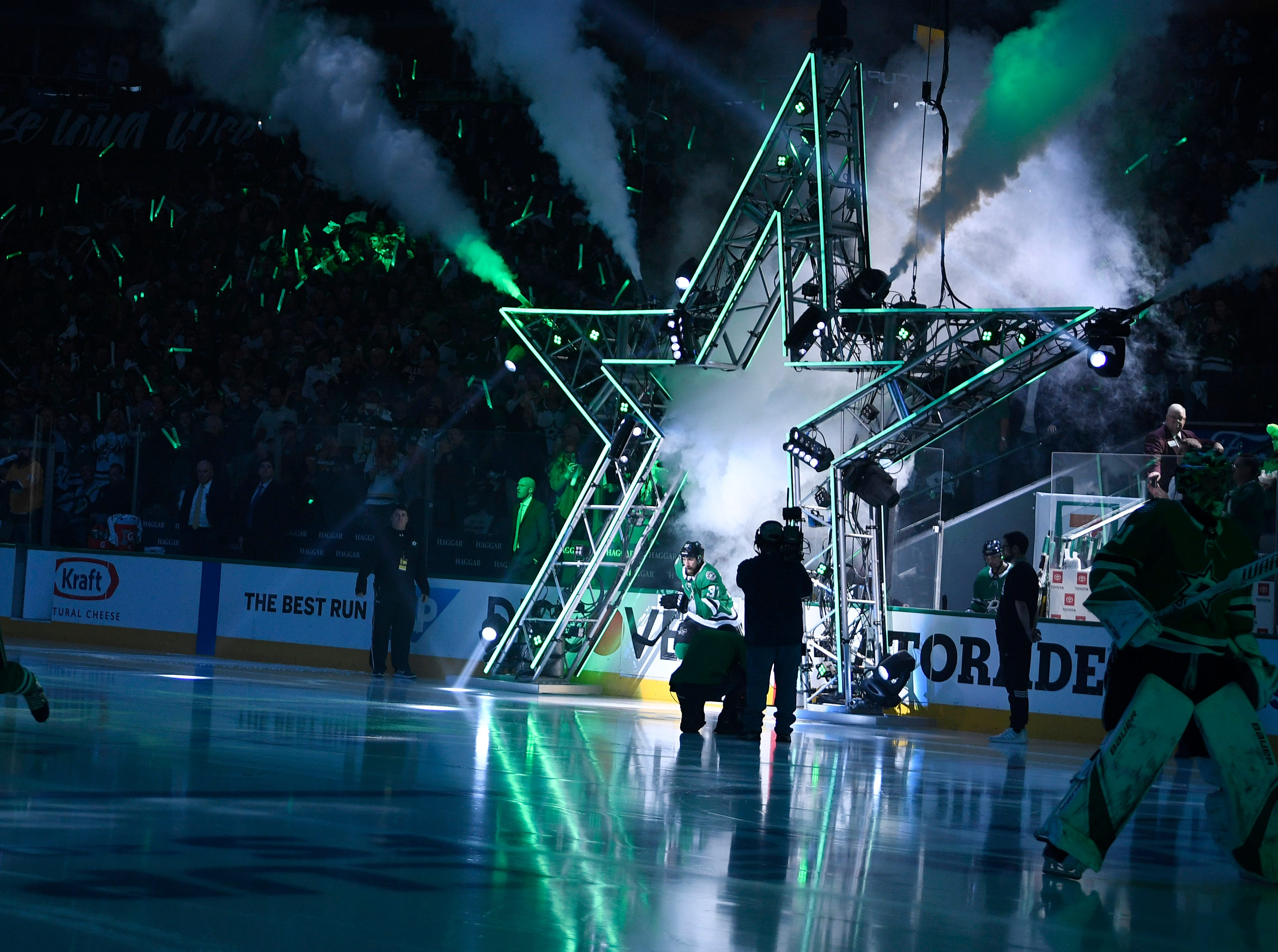 The Dallas Stars head onto the ice for the beginning during of the divisional semifinal game against the Predators at the American Airlines Center in Dallas, Texas, Monday, April 22, 2019.
