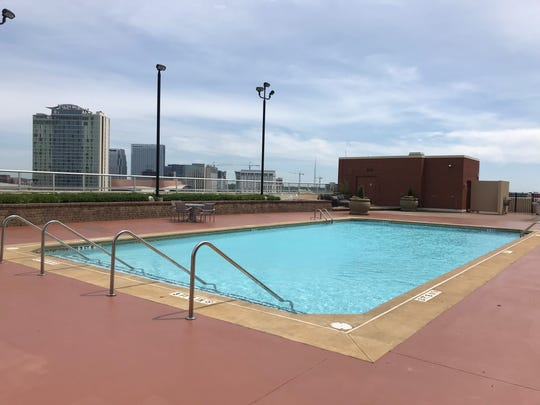 The main pool on the ninth floor rooftop at Icon in the Gulch.