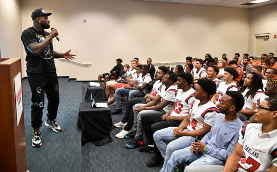 Tennessee Titan Delanie Walker was the keynote speaker as the NFL and Tennessee Titans hosted 260 high school athletes at Play Football High School Day at Nissan Stadium dow}, April 23, 2019, in Nashville, Tenn.
