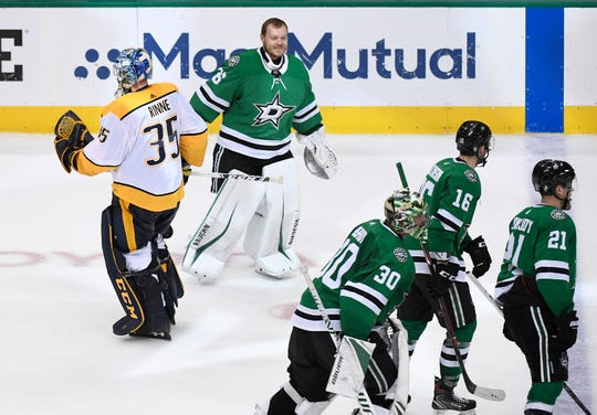 Nashville Predators goaltender Pekka Rinne (35) skates off after giving up the game-winning goal to Dallas Stars defenseman John Klingberg (3) in their divisional semifinal game at the American Airlines Center in Dallas, Texas, Monday, April 22, 2019.