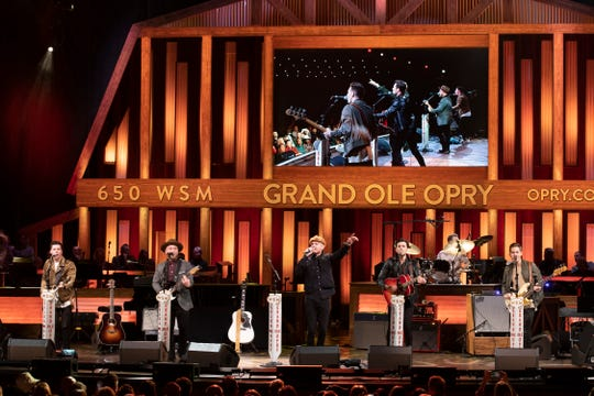 King Calaway made its Grand Ole Opry debut March 1, 2019. Members are, from left, Caleb Miller, Chad Michael Jervis, Jordan Harvey, Simon Dumas, Chris Deaton (behind the drums) and Austin Luther.