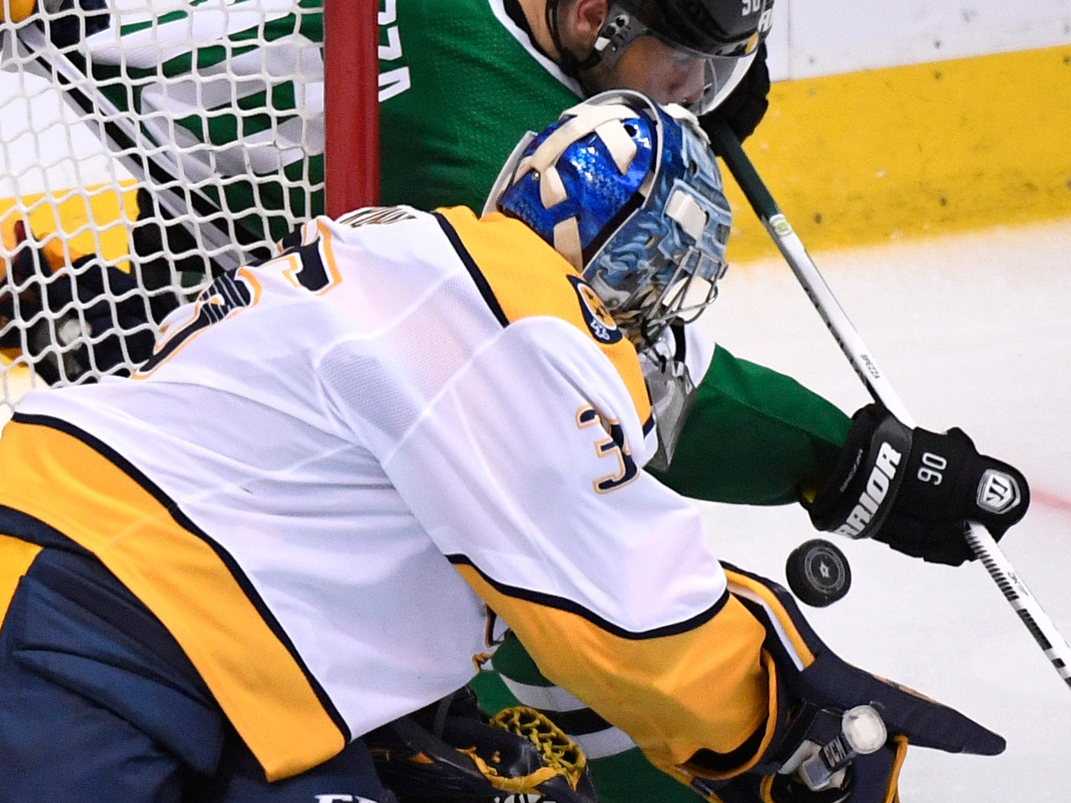 Nashville Predators goaltender Pekka Rinne (35) defends against Dallas Stars center Jason Spezza (90) during the third period of the divisional semifinal game at the American Airlines Center in Dallas, Texas, Monday, April 22, 2019.